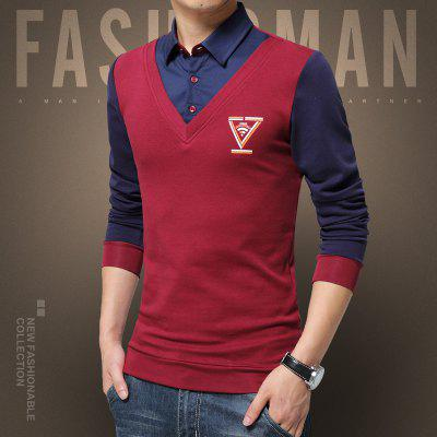 Man Shirt Collar Personality Long Sleeved T-ShirtMens T-shirts<br>Man Shirt Collar Personality Long Sleeved T-Shirt<br><br>Collar: Turn-down Collar<br>Material: Cotton<br>Package Contents: 1 x Shirt<br>Pattern Type: Geometric<br>Sleeve Length: Full<br>Style: Casual<br>Weight: 0.2500kg