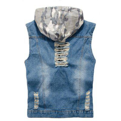 Mens Denim Vest Hole Design Hooded Patchwork Zipper Sleeveless Fashionable VestMens Jackets &amp; Coats<br>Mens Denim Vest Hole Design Hooded Patchwork Zipper Sleeveless Fashionable Vest<br><br>Clothes Type: Jackets<br>Collar: Hooded<br>Material: Acetate, Cotton<br>Package Contents: 1 x Vest<br>Season: Fall, Spring, Summer<br>Shirt Length: Regular<br>Sleeve Length: Sleeveless<br>Style: Casual<br>Weight: 0.5000kg