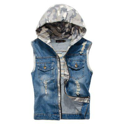Men's Denim Vest Hole Design Hooded Patchwork Zipper Sleeveless Fashionable Vest
