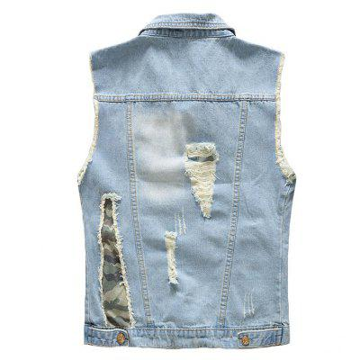 Mens Vest Jacket Denim Vintage Stylish Hole Design JacketMens Jackets &amp; Coats<br>Mens Vest Jacket Denim Vintage Stylish Hole Design Jacket<br><br>Clothes Type: Jackets<br>Collar: Turn-down Collar<br>Material: Acetate, Cotton<br>Package Contents: 1 xVest<br>Season: Fall, Spring, Summer<br>Shirt Length: Regular<br>Sleeve Length: Sleeveless<br>Style: Casual<br>Weight: 0.5000kg