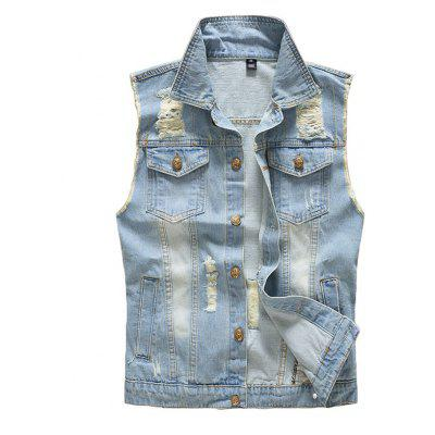 Men's Vest Jacket Denim Vintage Stylish Hole Design Jacket