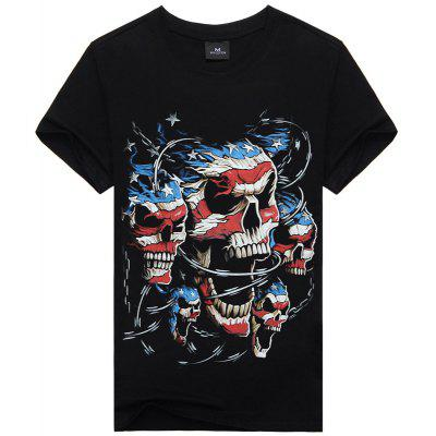 Men's Daily Casual Active Punk Print Round Neck Short Sleeves Cotton Spandex T-shirt