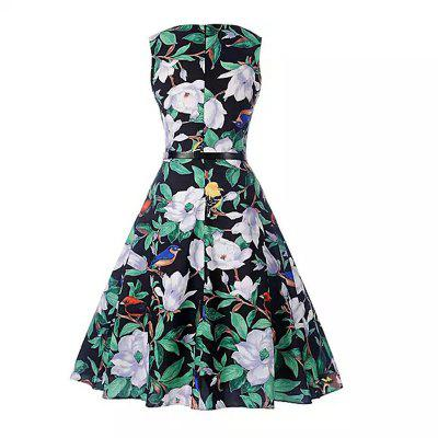 2018 Spring and Summer Cotton Foliage DressesWomens Dresses<br>2018 Spring and Summer Cotton Foliage Dresses<br><br>Dresses Length: Mid-Calf<br>Elasticity: Micro-elastic<br>Embellishment: Vintage<br>Fabric Type: Broadcloth<br>Material: Cotton<br>Neckline: Round Collar<br>Package Contents: 1 x Dress<br>Pattern Type: Print<br>Season: Spring, Winter, Fall, Summer<br>Silhouette: A-Line<br>Sleeve Length: Sleeveless<br>Sleeve Type: Off The Shoulder<br>Style: Vintage<br>Waist: Natural<br>Weight: 0.3000kg<br>With Belt: Yes