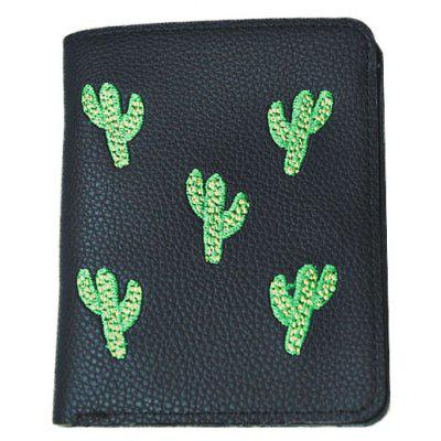 Embroidered Cactus Purse Female Short Coin Pocket