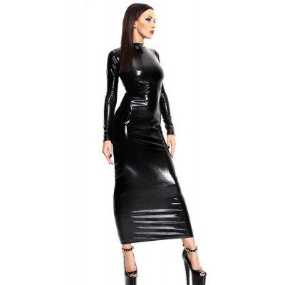 Women's Leather Backless Partywear Long Gown Dress