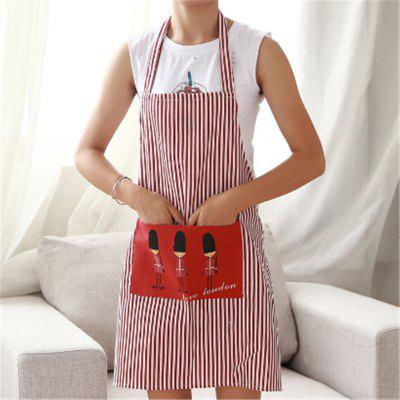 Buy RED Fashion Linen Stripe Apron with Pockets Cafe Waiter Kitchen Cook Household Cleaning Tools Kitchen Apron 2017 Free Shippi for $5.44 in GearBest store