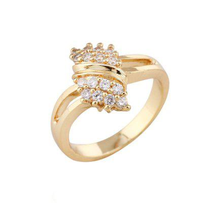 Dame 18K Gold Plated Round Strass Kristall Weding Ring