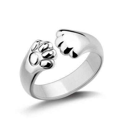 925 Silver adorable Cat claw wrap Ring