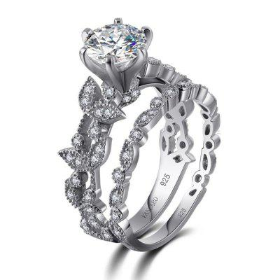 Unique Leaf Design 925 Sterling Silver White Sapphire Diamond Wedding  Engagement Ring Set ...