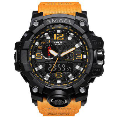 Buy ORANGE BLACK SMAEL Brand Sport Watch Men's Fashion Analog Quartz Dual Display LED Digital Electronic Watch Waterproof Swimming Milita for $21.27 in GearBest store