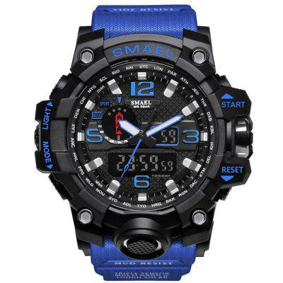 Buy BLUE BLACK SMAEL Brand Sport Watch Men's Fashion Analog Quartz Dual Display LED Digital Electronic Watch Waterproof Swimming Milita for $21.27 in GearBest store
