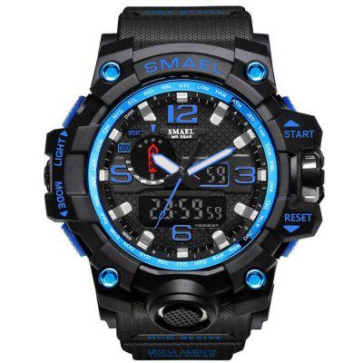 Buy BLACK BLUE SMAEL Brand Sport Watch Men's Fashion Analog Quartz Dual Display LED Digital Electronic Watch Waterproof Swimming Milita for $21.27 in GearBest store
