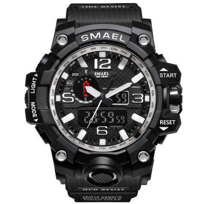 Buy BLACK WHITE SMAEL Brand Sport Watch Men's Fashion Analog Quartz Dual Display LED Digital Electronic Watch Waterproof Swimming Milita for $21.27 in GearBest store