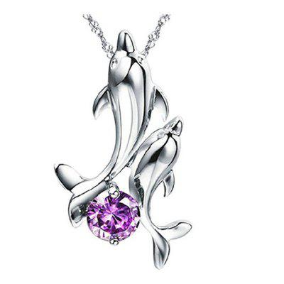Buy PURPLE Cute 925 Silver Double Dolphin Rhinestone Short Chain Pendant Necklace Jewelry for $2.74 in GearBest store