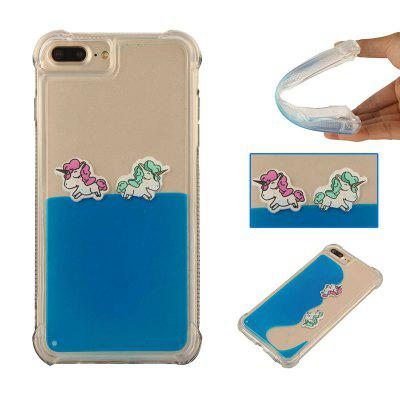 Cartoon Unicorn Horse Water Liquid Transparent Case for iPhone 7 Plus/8 Plus Soft TPU Phone Case Back Covers
