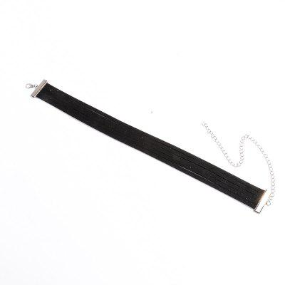 Black Leather More Layered Choker Necklace Silver Chain Velvet Neck Collar Choker Necklace for Girl
