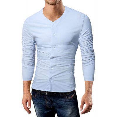 New Men'S Casual T-Shirt Solid Color Fashion Cardigan Long-Sleeved T-Shirt