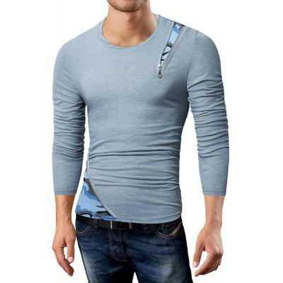 Hot Men'S Casual Long-Sleeved T-Shirt Personalized Zipper Design Fight Camouflage