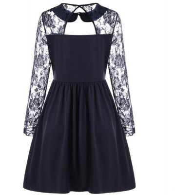 2018 New Lace Sleeved Hollowed Up Dress Doll Collar DressWomens Dresses<br>2018 New Lace Sleeved Hollowed Up Dress Doll Collar Dress<br><br>Dresses Length: Knee-Length<br>Elasticity: Elastic<br>Fabric Type: Canvas<br>Material: Polyester<br>Neckline: Turn-down Collar<br>Package Contents: 1 x Dress<br>Pattern Type: Solid<br>Season: Spring, Summer<br>Silhouette: A-Line<br>Sleeve Length: Long Sleeves<br>Style: Casual<br>Weight: 0.3500kg<br>With Belt: No