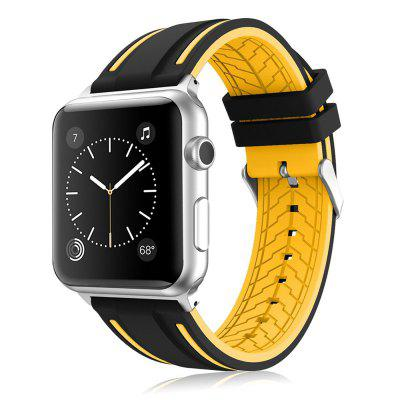 Buy YELLOW LEEHUR Soft Silicone Band Sport Style Replacement Wrist Strap Bracelet for Apple Watch Series 3/2/1 42mm for $8.13 in GearBest store