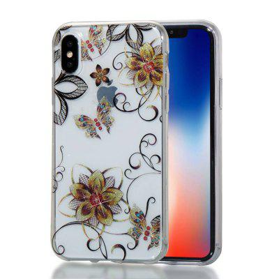 Golden Flower Butterfly High Penetrating Powder IMD  TPU Phone Case for iPhone X