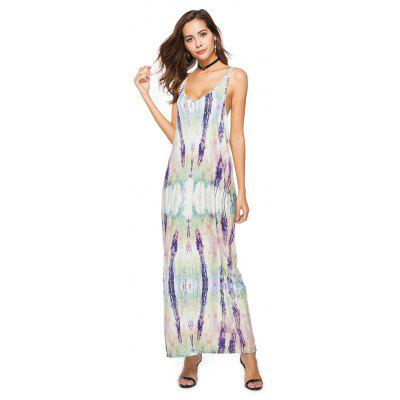Printing condole hollow-out split dress