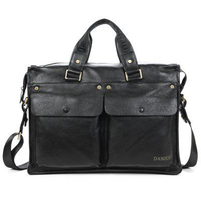 Buy BLACK DANJUE Men Genuine Leather Briefcase Businessman HandBags Brand Cowhide 14 Inch Laptop Travel High Quality Shoulder Bag for $125.83 in GearBest store