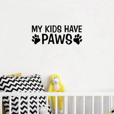 DSU  My Kids Have Paws Wall Sticker Funny Dog Paws Animal Vinyl Wall Decal Home DecorWall Stickers<br>DSU  My Kids Have Paws Wall Sticker Funny Dog Paws Animal Vinyl Wall Decal Home Decor<br><br>Art Style: Plane Wall Stickers, Toilet Stickers<br>Artists: Others<br>Brand: DSU<br>Color Scheme: Black<br>Effect Size (L x W): 7.8 x 20.5 cm<br>Function: Decorative Wall Sticker<br>Layout Size (L x W): 7.8 x 20.5 cm<br>Material: Vinyl(PVC)<br>Package Contents: 1 x Wall Sticker<br>Package size (L x W x H): 10.00 x 22.00 x 1.00 cm / 3.94 x 8.66 x 0.39 inches<br>Package weight: 0.0500 kg<br>Product size (L x W x H): 7.80 x 20.50 x 0.01 cm / 3.07 x 8.07 x 0 inches<br>Quantity: 1<br>Subjects: Fashion,Letter,Cute,Cartoon,Famous<br>Suitable Space: Living Room,Bedroom,Hotel,Kids Room,Entry,Kitchen,Pathway,Door,Corridor,Hallway,Boys Room,Game Room<br>Type: Plane Wall Sticker