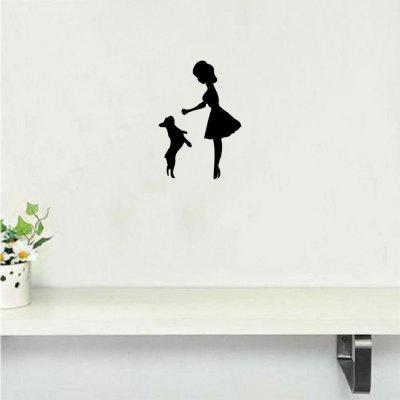 DSU Woman Playing With Pet Dog Wall Sticker Cartoon Animal Vinyl Wall Decal Home Decor