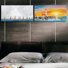 Happy Art Handed Canvas Modern Seascape Beach And Sailing Boat Oil Painting Art