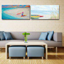 Happy Art Handed Canvas Modern Beach Boat Oil Painting Art