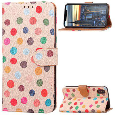 Wave Point Painted Leather Case Cover for iPhone X