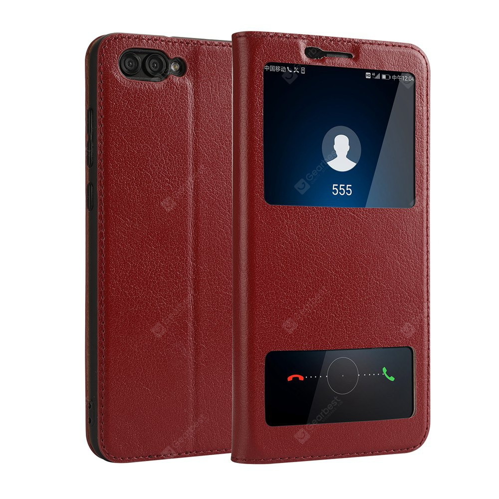 Case for Huawei Hornor V10 Geniune Leather Cowhide Dual Window Shell Cover
