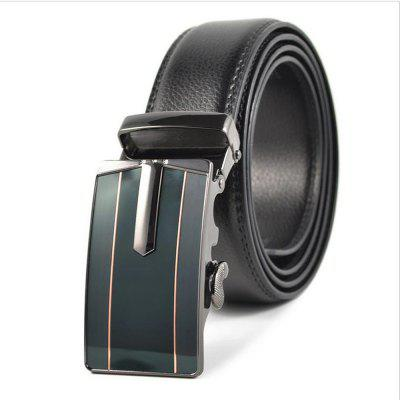 Men's Real Leather Business and Leisure Automatic Buckle Belt