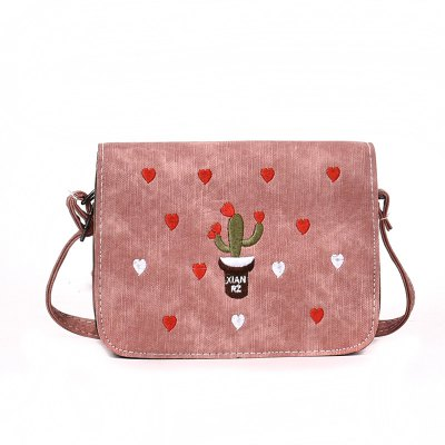 Mini square Simple Cactus Embroidery Messenger Bag
