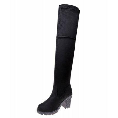 XS-666 Round Thick High-heeled Boots Knee SleeveWomens Boots<br>XS-666 Round Thick High-heeled Boots Knee Sleeve<br><br>Boot Height: Over-the-Knee<br>Boot Type: Fashion Boots<br>Closure Type: Slip-On<br>Gender: For Women<br>Heel Type: Chunky Heel<br>Package Contents: 1xShoes pair<br>Pattern Type: Solid<br>Season: Spring/Fall, Winter<br>Toe Shape: Round Toe<br>Upper Material: Flock<br>Weight: 0.9360kg