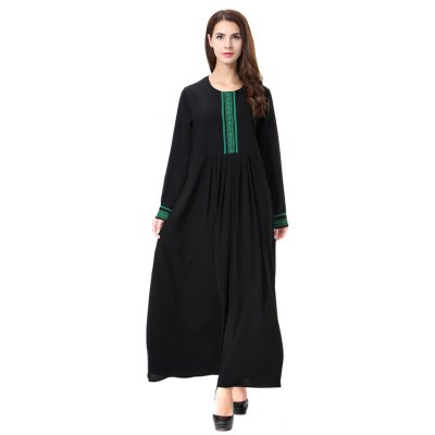 Lady Dress Pure Color Abaya TH903Maxi Dresses<br>Lady Dress Pure Color Abaya TH903<br><br>Dresses Length: Ankle-Length<br>Elasticity: Nonelastic<br>Fabric Type: Broadcloth<br>Material: Polyester, Spandex<br>Neckline: Round Collar<br>Package Contents: 1 x Dress<br>Pattern Type: Patchwork<br>Season: Spring, Summer, Fall<br>Silhouette: A-Line<br>Sleeve Length: Long Sleeves<br>Style: Casual<br>Weight: 0.3600kg<br>With Belt: No