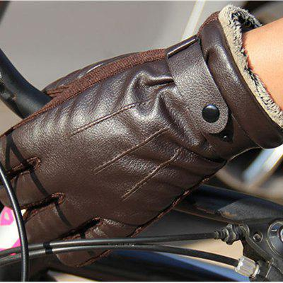 Autumn and Winter Men's PU Thickening Antiskid and Warm Glove Outdoor Cycling Electric Motorcycle Cotton