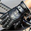 Autumn and Winter Men's PU Thickening Antiskid and Warm Glove Outdoor Cycling Electric Motorcycle Cotton - BLACK