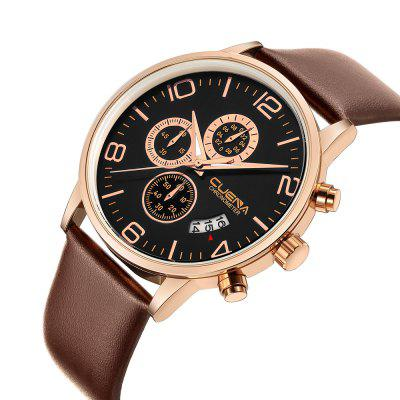 CUENA 6618P Trendy Mens Leather Multifunction Quartz WristwatchMens Watches<br>CUENA 6618P Trendy Mens Leather Multifunction Quartz Wristwatch<br><br>Band material: Genuine Leather<br>Band size: 26 x 2.2cm<br>Brand: CUENA<br>Case material: Alloy<br>Clasp type: Pin buckle<br>Dial size: 4.3 x 4.3 x 1.05cm<br>Display type: Analog<br>Movement type: Quartz watch<br>Package Contents: 1 x Watch, 1 x Box<br>Package size (L x W x H): 14.00 x 8.00 x 3.00 cm / 5.51 x 3.15 x 1.18 inches<br>Package weight: 0.1100 kg<br>Product size (L x W x H): 26.00 x 4.30 x 1.05 cm / 10.24 x 1.69 x 0.41 inches<br>Product weight: 0.0550 kg<br>Shape of the dial: Round<br>Special features: Working sub-dial, Stopwatch, IP plating, Day, Light<br>Watch mirror: Mineral glass<br>Watch style: Casual, Trends in outdoor sports, Retro, Business, Fashion, Cool<br>Watches categories: Men,Male table<br>Water resistance: 30 meters<br>Wearable length: 17 - 24cm