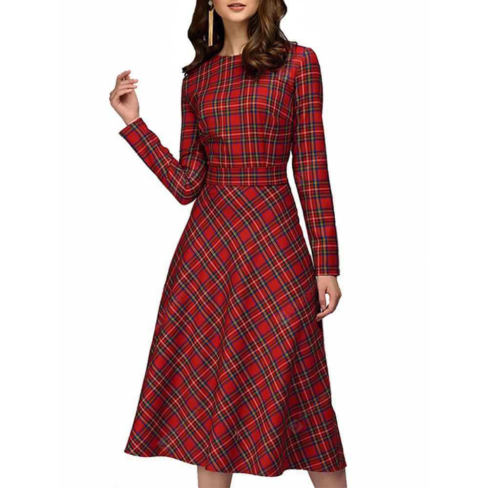 Autumn Winter New Round Collar Long Sleeve Lattice Medium Long Party Dress