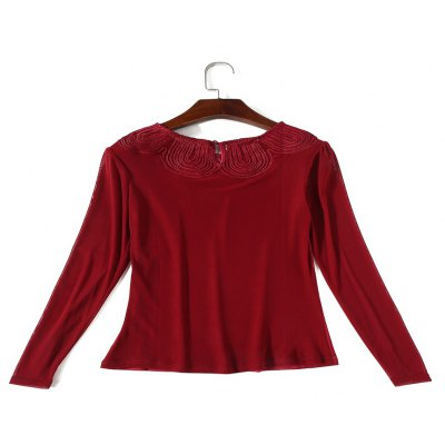Round Collar Lace Perspective Long Sleeve BlouseTees<br>Round Collar Lace Perspective Long Sleeve Blouse<br><br>Collar: Round Neck<br>Elasticity: Micro-elastic<br>Embellishment: Lace<br>Fabric Type: Chiffon<br>Material: Polyester, Lace<br>Package Contents: 1 x Blouse<br>Pattern Type: Solid<br>Shirt Length: Regular<br>Sleeve Length: Full<br>Style: Fashion<br>Weight: 0.2000kg