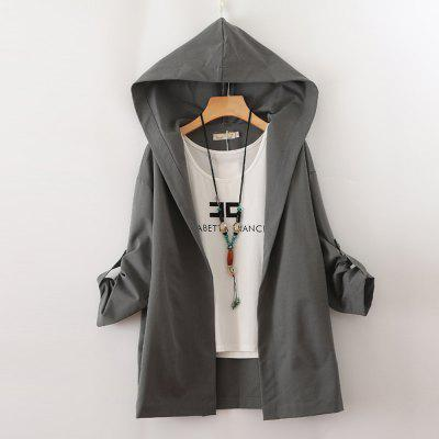 Women's Trench Coat Long Sleeve All Match Solid Hooded Outerwear
