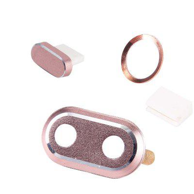 Camera Lens Case with Home Button Ring with Charging Anti Dust Plug Set for IPhone X