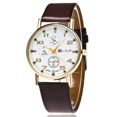 ZhouLianFa New Fashion Luxury Goods Smooth Leather Strap Gold Dial Leisure Business Quartz Watch