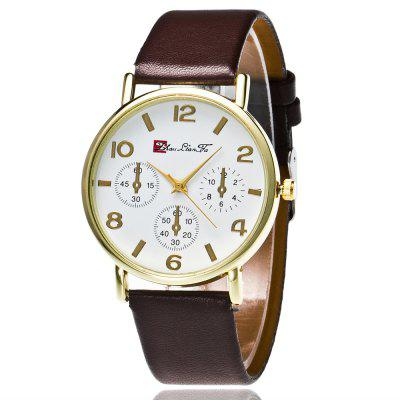 ZhouLianFa New Fashion Luxury Goods More Smooth Leather Strap Gold Dial Leisure Business Three Quartz Watches