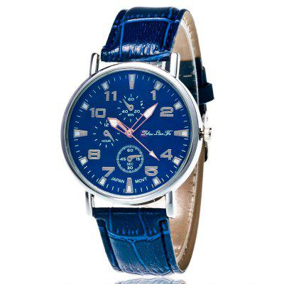 ZhouLianFa New Trendy Fashion Bamboo Pattern Silver Blue Monocular Quartz Watch