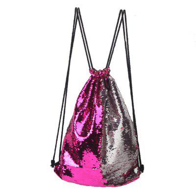 Mermaid Sequins Drawstring Sports Bag Climbing Hiking Shopping Backpack Trendy