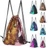 Mermaid Sequins Drawstring Sports Bag Climbing Hiking Shopping Backpack Trendy - PINK