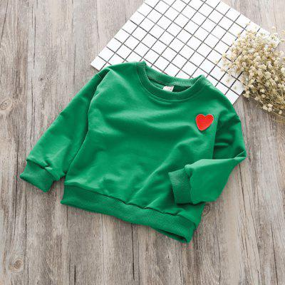 Korean Version of The Solid Color Round Neck Love Sweater TZ0154